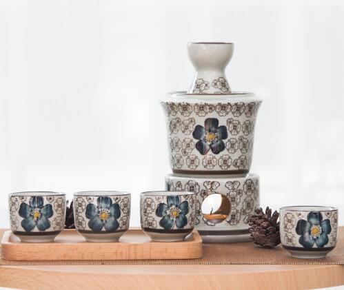 文瑞瓷业 日式陶瓷家用温酒壶套装