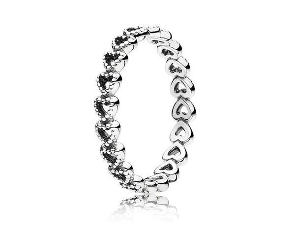 pandora/潘多拉 心心相连925银戒指