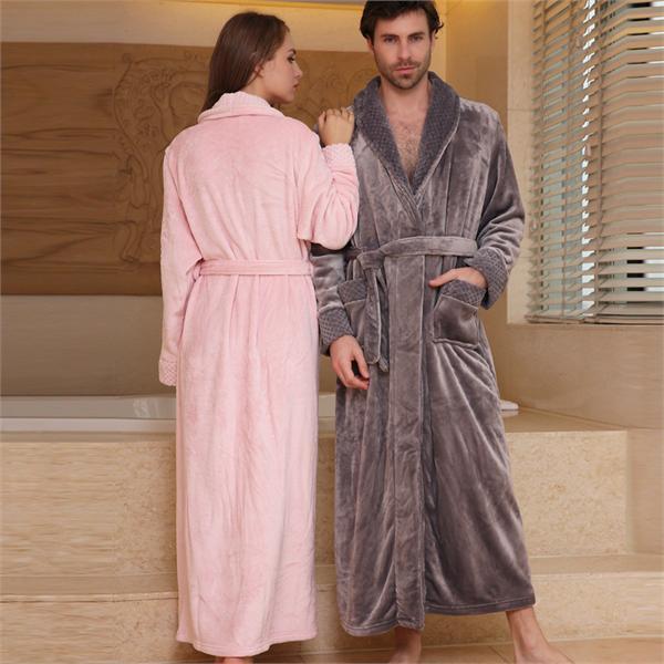 琼品睡衣家居服 加长款珊瑚绒情侣睡袍