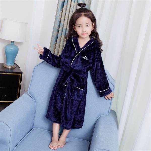 神气宝贝童装 宝宝秋冬季加厚珊瑚绒亲子睡袍