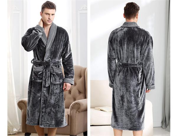 千年马旗舰店 冬季加厚珊瑚绒男士睡袍