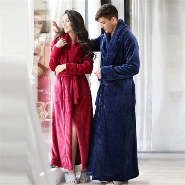 7VEILS七纱时尚家居服 加长款加厚珊瑚绒情侣睡袍