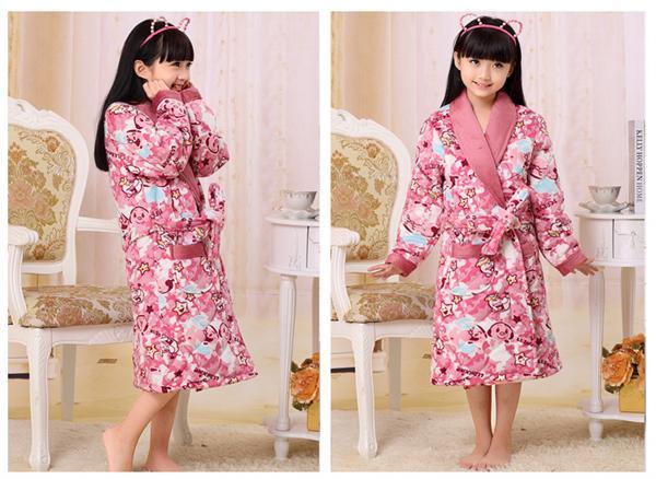 奕之轩睡衣服饰 冬款三层加厚卡通珊瑚绒夹棉睡袍