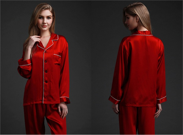 珊目尔旗舰店 分体长袖真丝睡衣两件套