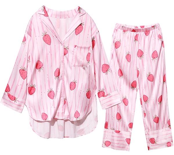 Realwill/润微 甜美草莓印花仿真丝绸家居服