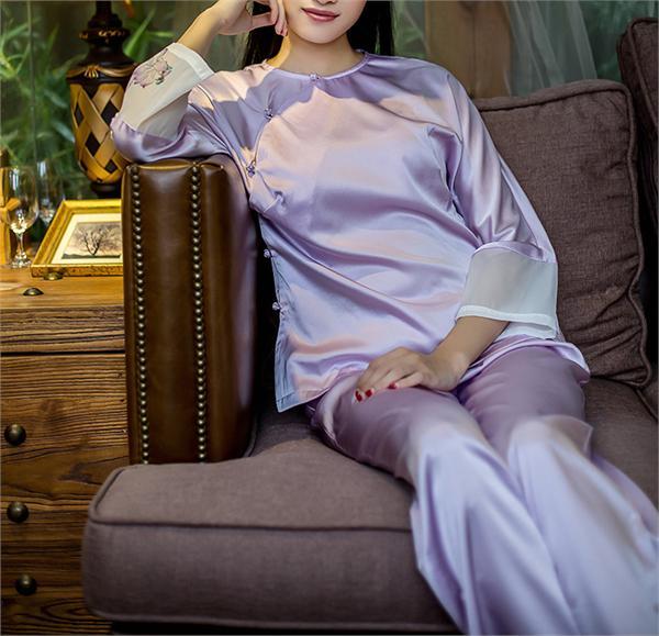 闲章衣品 中国风重磅真丝睡衣
