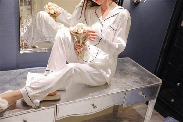 MIFU蜜芙睡衣定制 春夏季长袖开衫睡衣两件套
