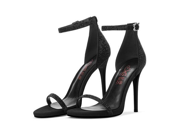 熙漫 黑色水钻高跟凉鞋
