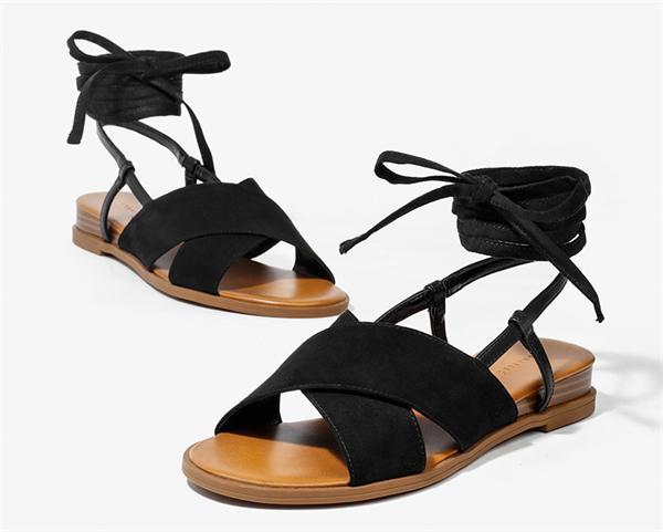 CHARLES&KEITH 异域风交叉绑带帆布罗马凉鞋