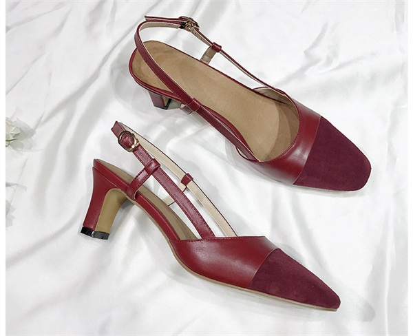 一力米灰定制女鞋 小香风凉鞋