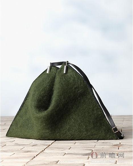 軍綠色馬海毛手袋