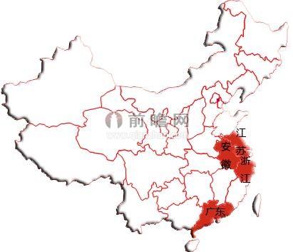 图表2:中国化妆品行业区域分布示意图