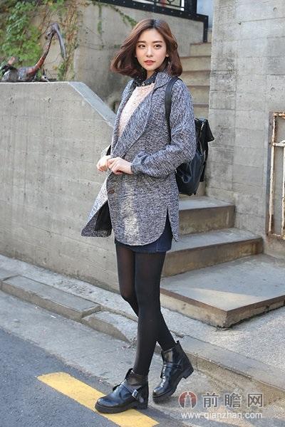 日本韩国时尚街拍大衣矮个子女生