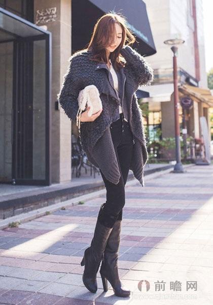 日系毛绒外套搭配 女王范高挑有气质