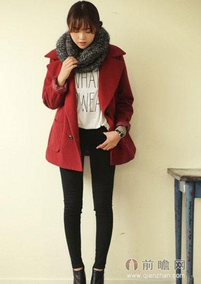 长短款大衣+围巾保暖时髦
