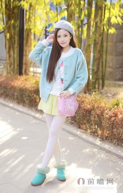 外套+短裙俏皮可爱 小个子女生冬季穿衣