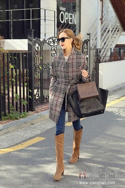 格子大衣日本韩国欧美时尚街拍