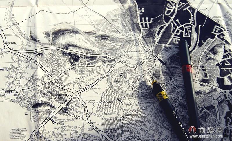 地图 英国/英国艺术家用地图创作肖像