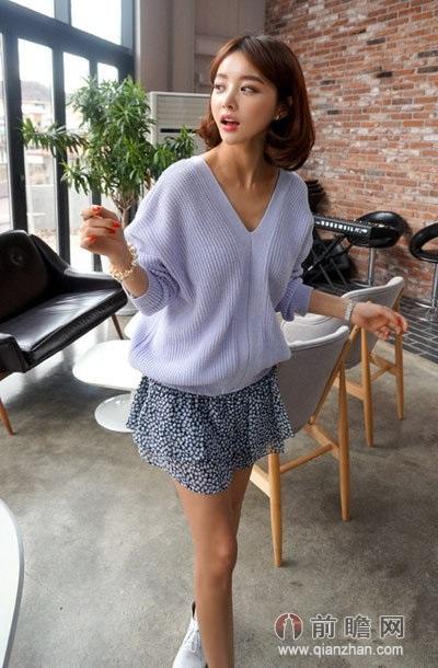针织衫碎花裙日本韩国欧美时尚街拍