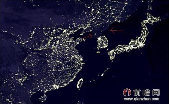 """希望朝鲜半岛""""不战不和; 卫星图片,其中包括夜晚全球灯光对比图."""