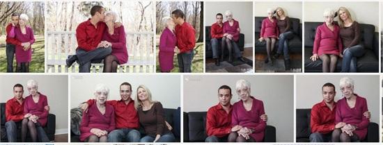 男子携91岁女友与母合拍温馨照