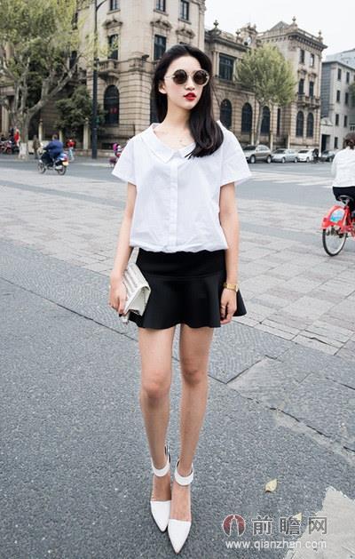 日本韩国欧美时尚街拍上衣t恤短裙