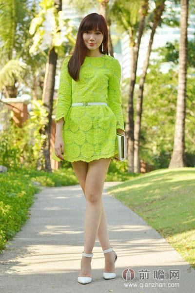 夏天绿色风景美女