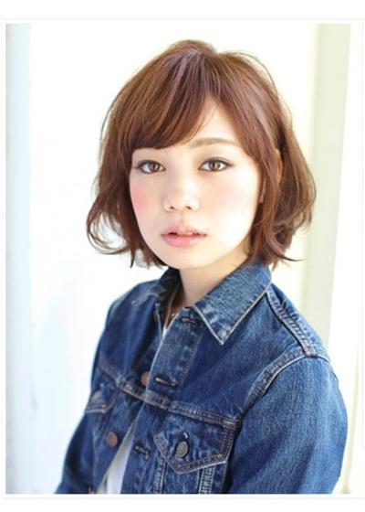 日本韩国日系韩范女生染发短发刘海波波头发型