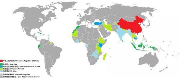 免签国地图