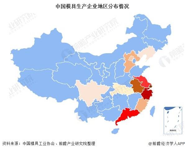 中国模具生产企业地区分布情况