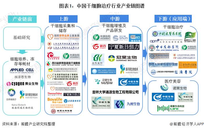 图表1:中国干细胞治疗行业产业链图谱