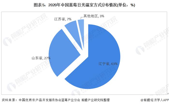 图表5:2020年中国蓝莓日光温室方式分布情况(单位:%)