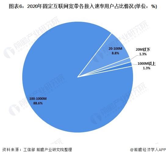 图表6:2020年固定互联网宽带各接入速率用户占比情况(单位:%)