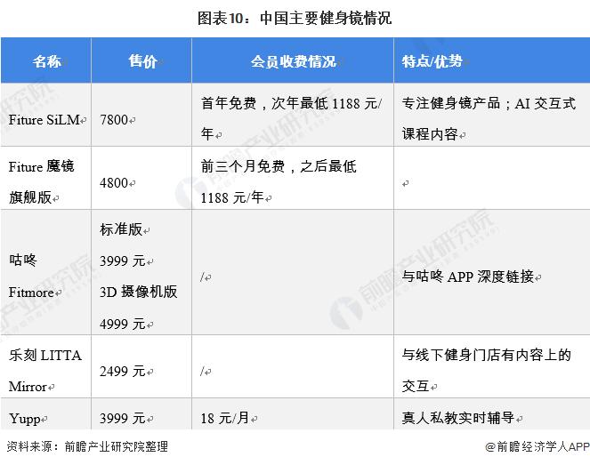 图表10:中国主要健身镜情况