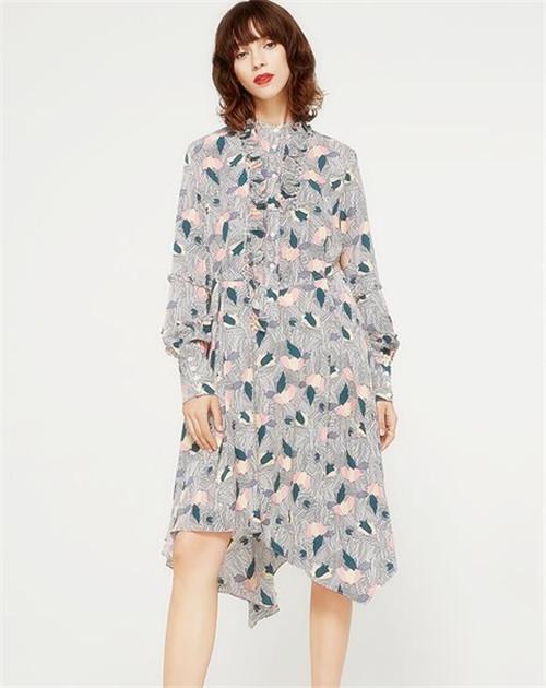 Zopin/作品 秋季新款大荷叶边领口时尚印花连衣裙