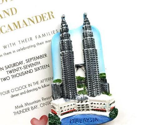 大闸蟹 马来西亚特色冰箱贴双子塔旅游纪念品