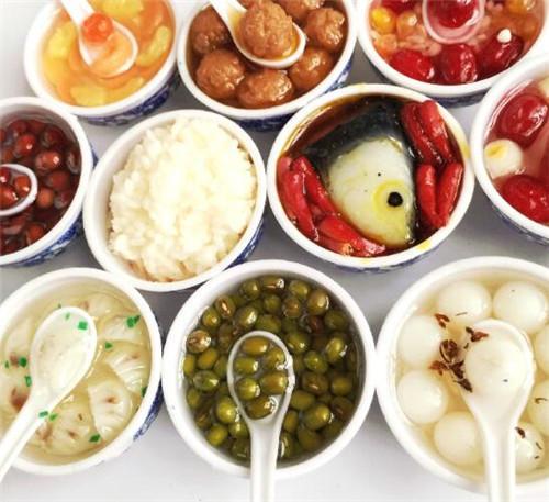 大闸蟹 青花瓷碗仿真食物米饭绿豆冰箱磁贴