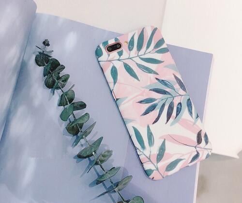 木木辛工作室 小清新粉绿色叶子手机壳
