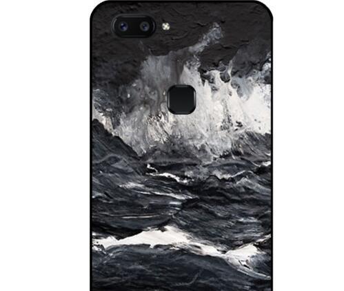 橙心数码 黑色海浪VIVOX20磨砂黑边手机壳