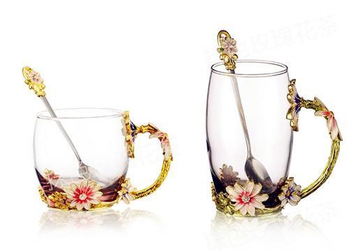 抹色 珐琅彩水杯花茶杯果汁杯
