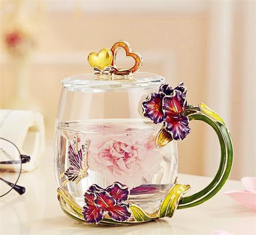 诺诗曼 小清新珐琅彩少女心水果花茶杯