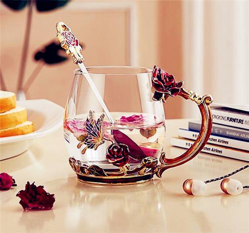 诺诗曼 珐琅彩花茶杯