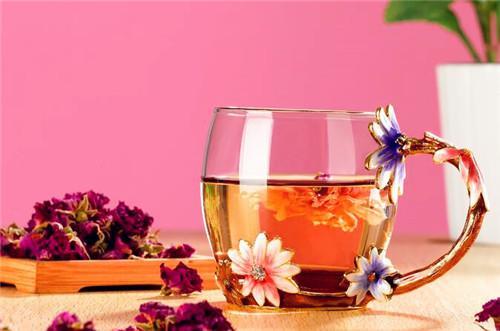 罗比罗丹 玻璃水杯创意花朵珐琅彩水杯