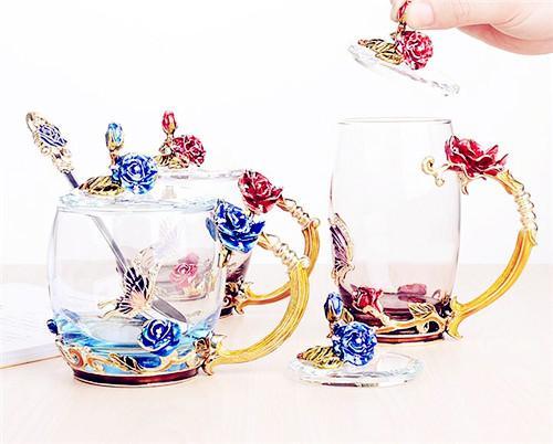 千寻雅致 珐琅彩水杯玻璃杯