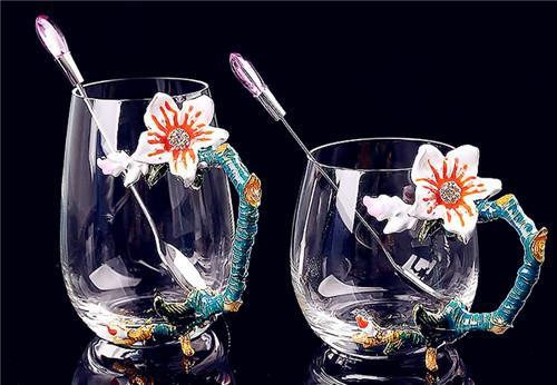 泸沽湖 欧式创意珐琅彩水杯