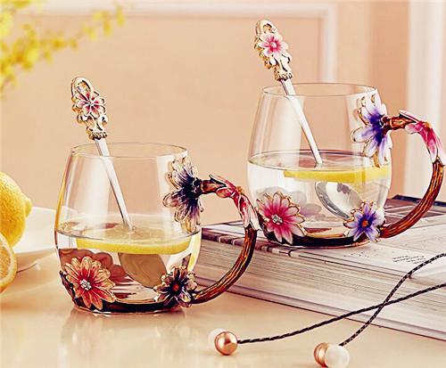诺诗曼 珐琅彩水杯有盖勺文艺软妹花茶杯