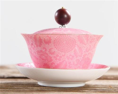 云在青天 景德镇珐琅彩盖碗茶杯手绘