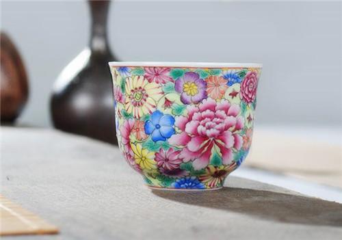 枭窑 景德镇茶具珐琅彩手绘功夫茶杯单杯