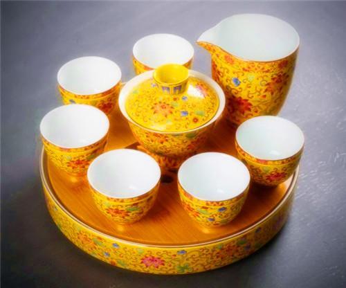 京隆堂  茶壶盖碗家用简约珐琅彩景德镇陶瓷功夫茶具