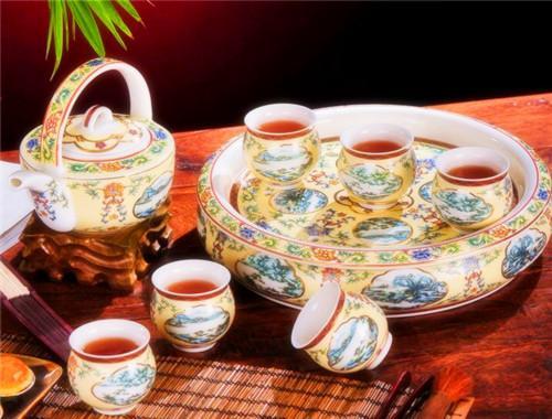 红鑫 景德镇仿古陶瓷器8头双层茶具套装